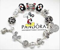 Authentic Pandora Bracelet Silver Disney Mickey Mouse with European Charms BLACK