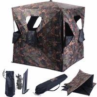 Ground Hunting Blind Portable Deer Pop Up Camo Hunter Weather Proof Mesh Window