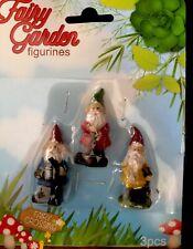 Miniature Fairy Garden Gnomes Set of 3 Figurines Gardening New