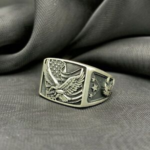 925 Sterling Silver USA Flag & American Eagle Figure Men's Ring