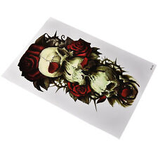 Waterproof Skull and Rose Temporary Tattoo Large Arm Body Art Tattoos Sticker