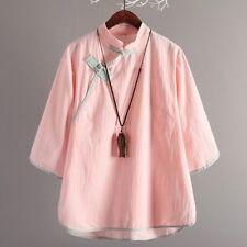 femmes lin en vrac T Shirt Vintage Bouton GRENOUILLE col Mao Haut Chinois