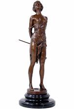 BRONZEFIGUR FRAU + PEITSCHE ca.36cm DOMINA BRONZE AKT FIGUR EROTIKA FEMALE NUDE