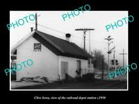OLD LARGE HISTORIC PHOTO OF CLIVE IOWA, THE RAILROAD DEPOT STATION c1950