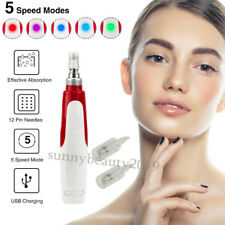 Electric Derma Pen Stamp Auto Anti Aging Micro Needle Roller With 2 Cartridges