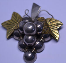 & Brass Leaves Pin Or Pendant Vintage Signed Mexican Sterling Silver Huge Grape