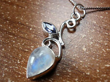 Genuine Faceted Iolite and Rainbow Moonstone Pendant 925 Sterling Silver #64w