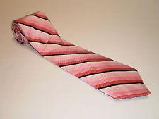 "NWT Mens Via Europa Silk Tie Necktie Pink White Black Striped 57"" by 3.75"""