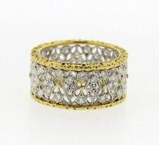 Buccellati 18k Gold Openwork Wide Wedding Band Diamond Ring