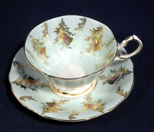 Queen Anne Fine Bone China Thistle on Pale Mint Green Tea Cup and + Saucer Set