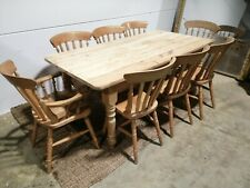Solid Pine Farmhouse Rustic large Dining Table & 8 Chairs ~ Pine 4 6 or 8 Seater