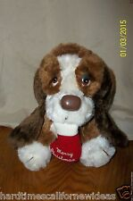 "Vintage Russ Baxter Plush Basset Hound Dog with Merry Christmas Stocking 7"""