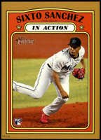 Sixto Sanchez 2021 Topps Heritage In Action 5x7 Gold Miami Marlins Rookie /10