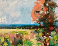 Trees Meadows Hills Landscape Oil Painting IMPRESSIONISM COLLECTIBLE ARTIST