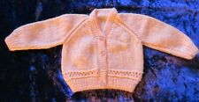 """Hand Knitted Baby Girls Cardigan 18"""" (Peach Colour)"""