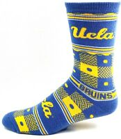 UCLA Bruins NCAA Blue and Gold Plaid  Crew Sock