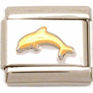 Dolphin Italian Charm Gold Plated Bracelet Jewelry 9mm