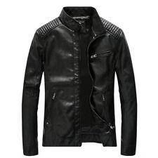 NEW Men's PU Leather Washed Jackets Zipper Slim Fit Biker Motorcycle Jacket Coat