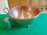 Antique Heavy Copper English Colander Kitchen Country Primitive CA. 19th Century