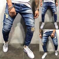 Mens Ripped Skinny Jeans Destroyed Frayed Slim Fit Biker Denim Pants Trousers US