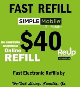 $40 SIMPLE MOBILE PREPAID FASTEST ONLINE REFILL > 25yr USA TRUSTED DEALER <