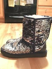UGG Classic Short Sequin Boots - (SIZE 10) - (Navy & Silver)