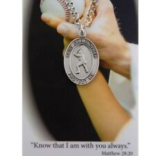 St. Christopher Baseball Medal necklace with a Laminated Prayer Card