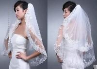 New Short 2Layer White or Ivory Wedding Bridal Veil Lace Edge With Comb
