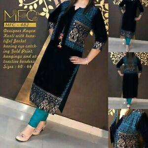 Indian Ethnic Straight Kurta Golden Print Blue Kurti Jacket Bollywood Dress New