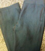 Lafayette 148 New York Women's Sz 4 Teal Iridescent Linen Straight Leg Pants