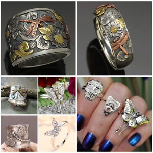 Fashion 925 Silver Animal Butterfly Dragonfly Band  Ring Women Men Ring Jewelry