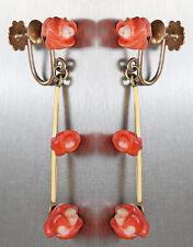 Ohrhänger Gold 500 - Ohrschmuck in  12 kt Gold - Rosen aus Koralle