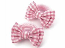 Pink Gingham Check Bow Soft Endless Ponio Donut Summer School Hair Bobbles  UK
