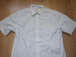 Farah Classic Short Sleeve Business Office Shirt Striped Light Blue White M New