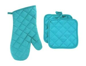 SET OF 3, Oven Glove & Cooking Pot Holders Thick Heat Resistant Mitts TEAL BLUE