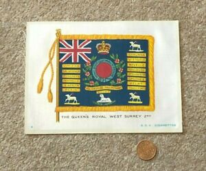 Antique Silk BDV Cigarette Card Military Queen's Royal West Surrey 2nd Flag