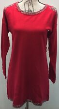 Red Beaded Sweater Dress One Size Wool Cotton Blend Long Sleeve Mini Skirt