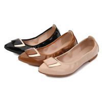 Womens Ballet Pointed Toe Flats Soft Loafer Slip On Pumps College Shoe Plus Size