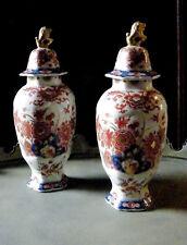 Fine Pair of Antique Delft Chinoiserie Imari Lidded Vases