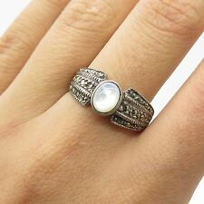 Vtg 925 Sterling Silver Real Marcasite Gemstone Mother-Of-Pearl Ring Size 8