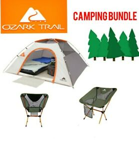 Ozark Trail Camping 3-Pc Bundle~ 3 Person Dome Tent + TWO Himont Compact Chairs!