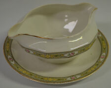 Edwin M Knowles China Co. Semi Vitreous Gravy Boat w/ Attached Underplate