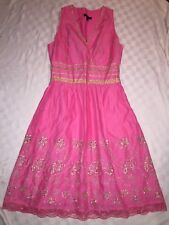 Express Women's Sleeveless Dress Pink Gold Embroidered Eyelet Lace Trim Lined 10