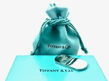 "Tiffany & Co Sterling Silver Coin Edge Engravable  Dog Tag Charm Pendant 1.5"" 19"