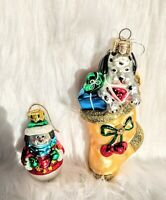 Vintage Glass Christmas Ornaments Made in Poland Holiday Toys Dog Snowman