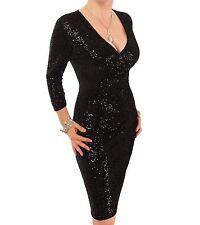 Velour Sequin Knee Length Dress - Fully Lined Black 14