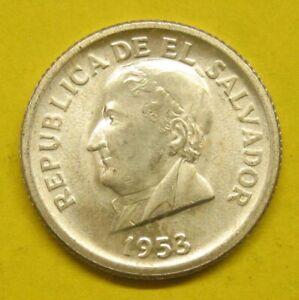 1953 El Salvador 25 Centavos Silver Coin Rare one Year Issue Take a Look