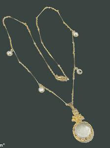"""Crystal Intaglio Antique Cameo Necklace 23"""""""
