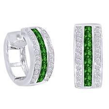 0.17 CT Diamond & Emerald Huggie Earrings 10K White Gold