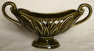 Vintage Green Slipware Window Vase - Devonway Pottery
